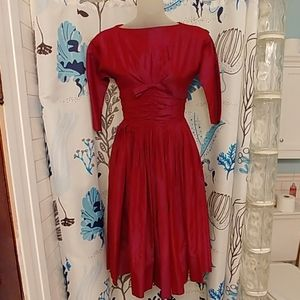Vintage 50s Tailored Junior Red Rockabilly Dress
